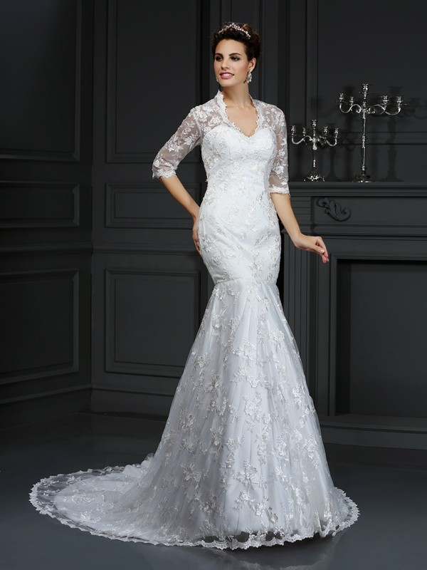 Trumpet/Mermaid Lace V-neck 1/2 Sleeves Court Train Lace Wedding Dresses