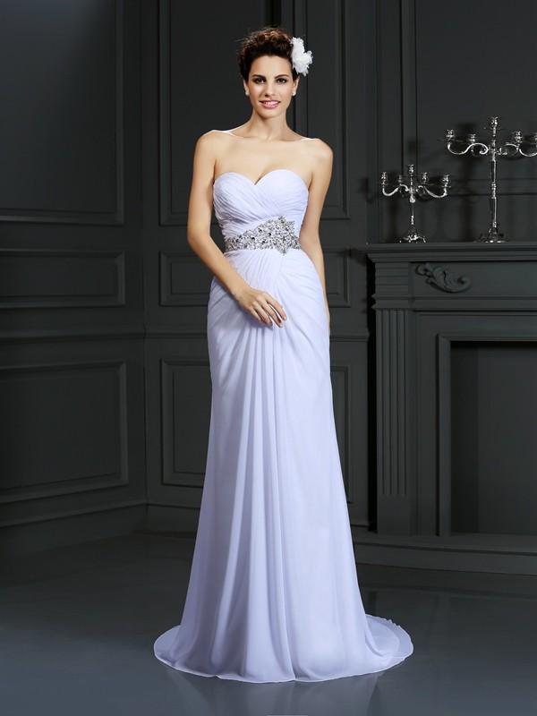 Sheath/Column Beading Sweetheart Sleeveless Chapel Train Chiffon Wedding Dresses