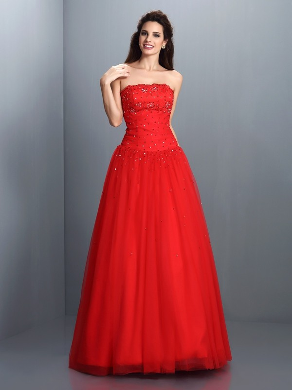 Ball Gown Beading Strapless Sleeveless Floor-Length Organza Dresses
