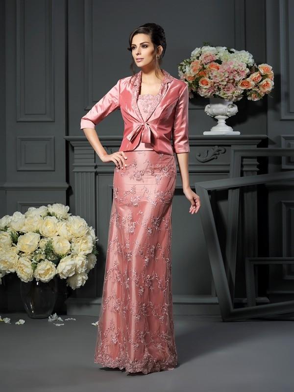 A-Line/Princess Lace Straps Sleeveless Floor-Length Taffeta Mother of the Bride Dresses