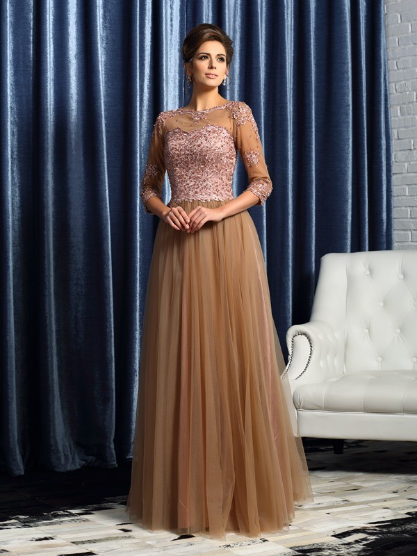 A-Line/Princess Scoop 3/4 Sleeves Floor-Length Elastic Woven Satin Mother of the Bride Dresses