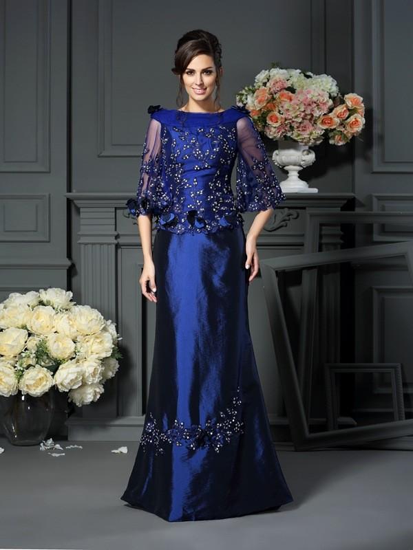 A-Line/Princess Beading Scoop 1/2 Sleeves Floor-Length Taffeta Mother of the Bride Dresses