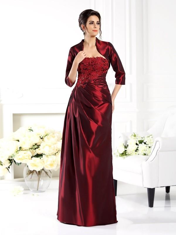 A-Line/Princess Applique Strapless 1/2 Sleeves Floor-Length Taffeta Mother of the Bride Dresses