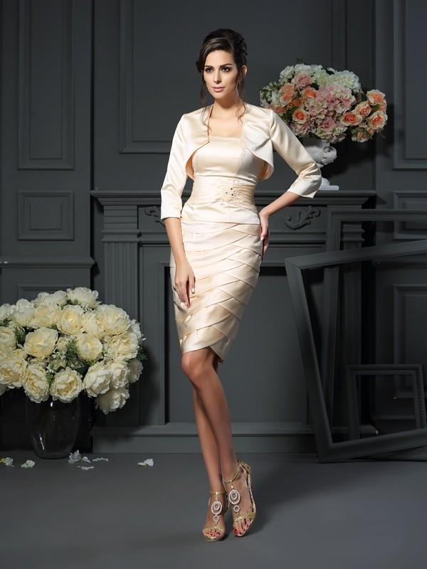 Sheath/Column Pleats Strapless Sleeveless Knee-Length Satin Mother of the Bride Dresses