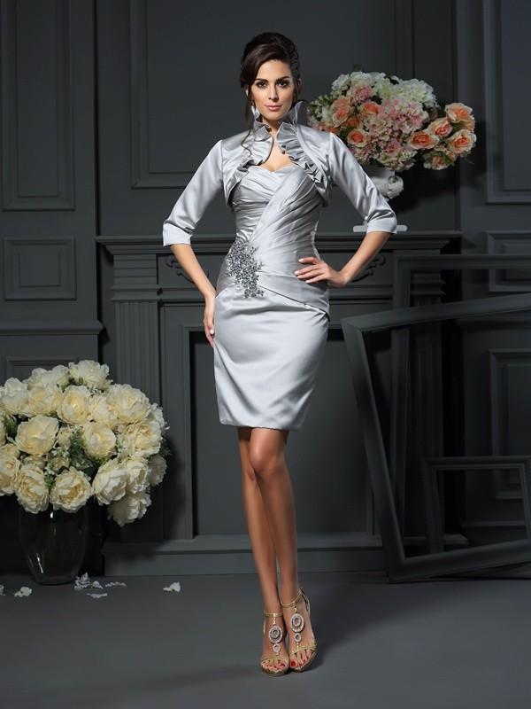 Sheath/Column Beading Sweetheart Sleeveless Short/Mini Satin Mother of the Bride Dresses