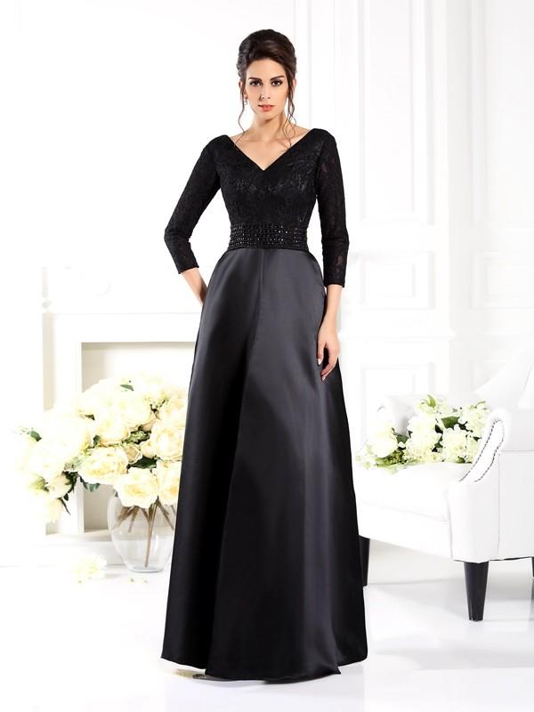 A-Line/Princess Beading V-neck 3/4 Sleeves Floor-Length Satin Mother of the Bride Dresses