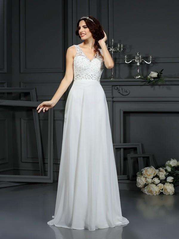 A-Line/Princess Lace V-neck Sleeveless Sweep/Brush Train Chiffon Wedding Dresses