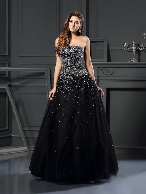 Ball Gown Beading Strapless Sleeveless Floor-Length Satin Dresses