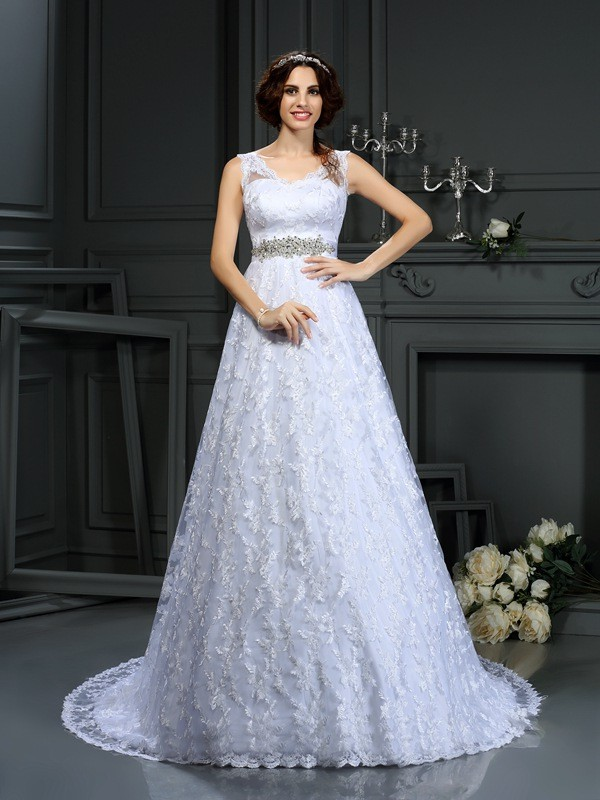 A-Line/Princess Lace V-neck Sleeveless Court Train Satin Wedding Dresses