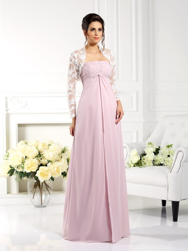 A-Line/Princess Lace Strapless Sleeveless Floor-Length Chiffon Mother of the Bride Dresses