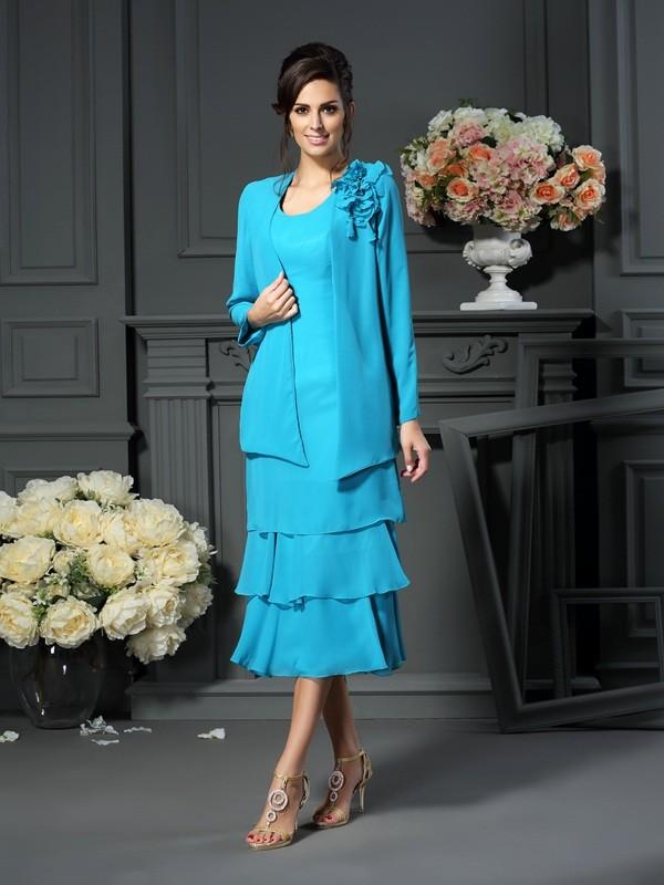 A-Line/Princess Scoop Sleeveless Tea-Length Chiffon Mother of the Bride Dresses