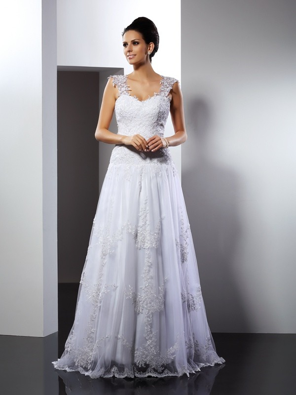 A-Line/Princess Applique Straps Sleeveless Court Train Lace Wedding Dresses