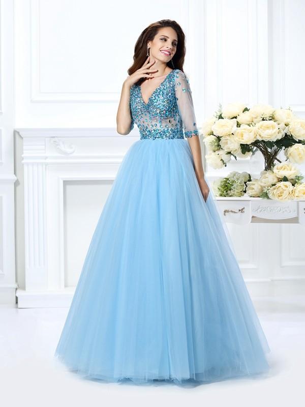 Ball Gown Beading V-neck 1/2 Sleeves Floor-Length Satin Dresses