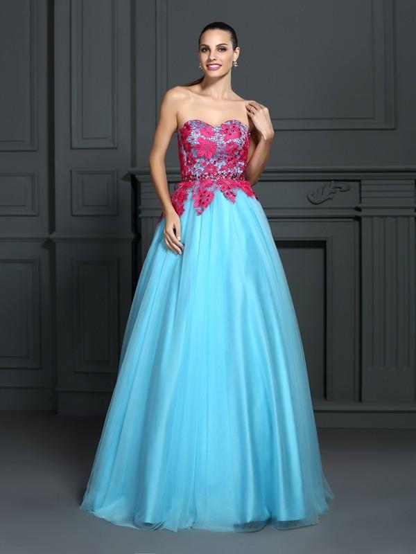 Ball Gown Lace Sweetheart Sleeveless Floor-Length Satin Dresses