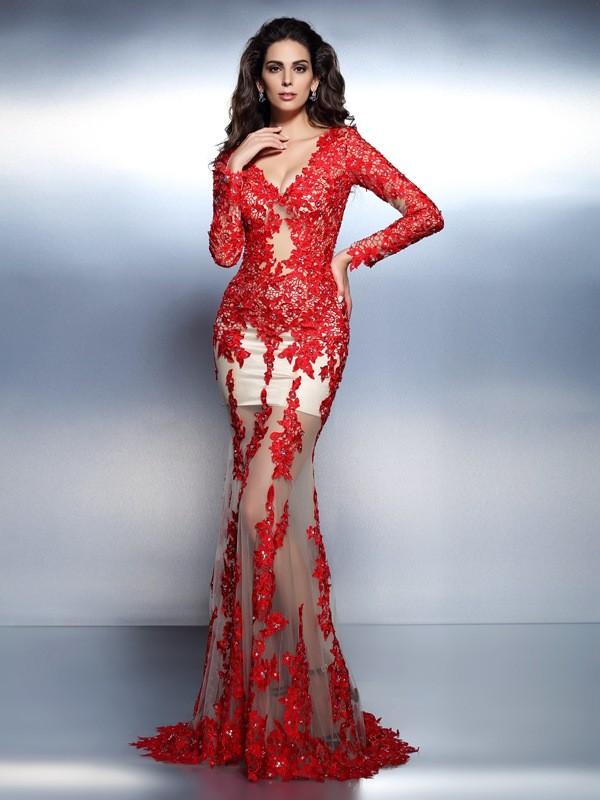 Trumpet/Mermaid Applique V-neck Long Sleeves Sweep/Brush Train Lace Dresses