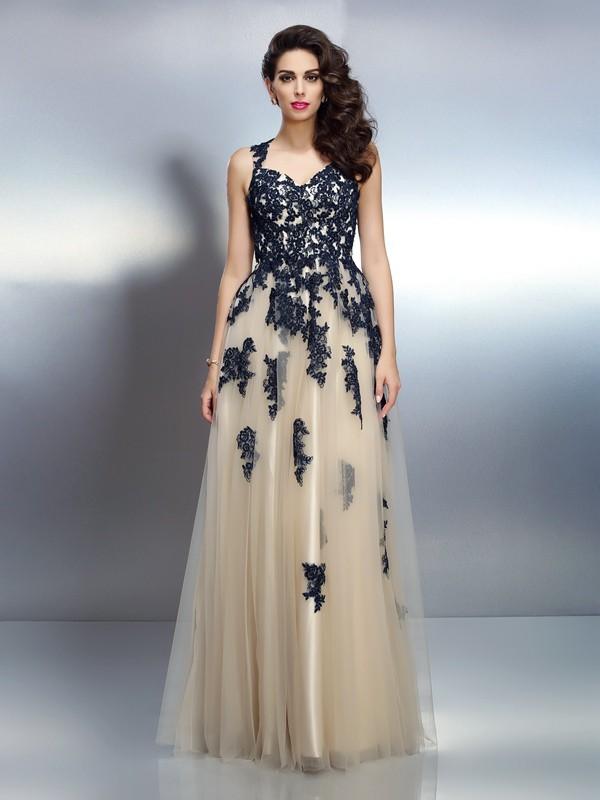 A-Line/Princess Applique Straps Sleeveless Floor-Length Elastic Woven Satin Dresses