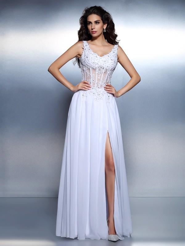A-Line/Princess Applique Scoop Sleeveless Floor-Length Chiffon Dresses