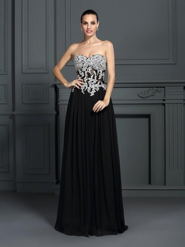 A-Line/Princess Applique Sweetheart Sleeveless Floor-Length Chiffon Dresses