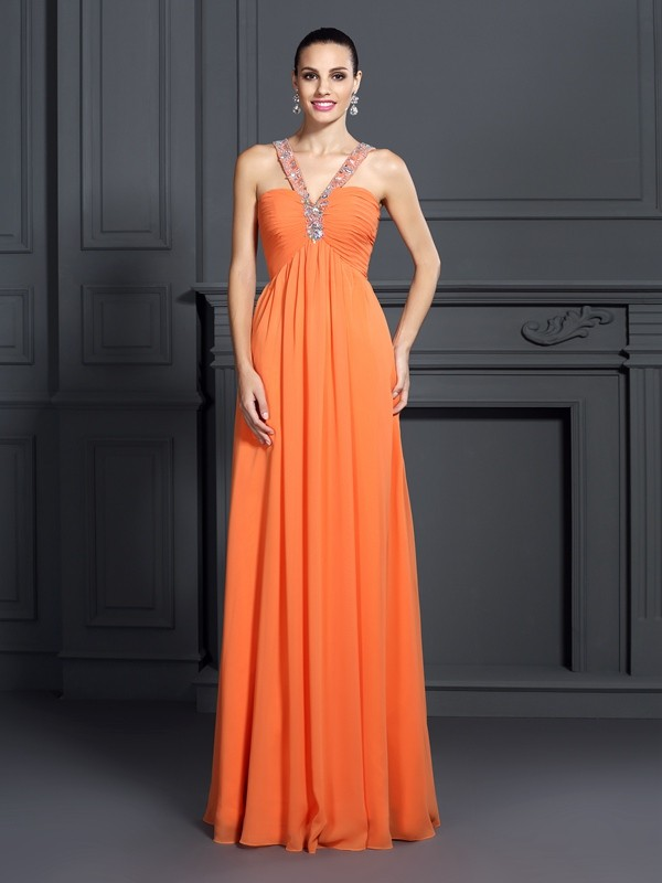 A-Line/Princess Beading Halter Sleeveless Floor-Length Chiffon Dresses