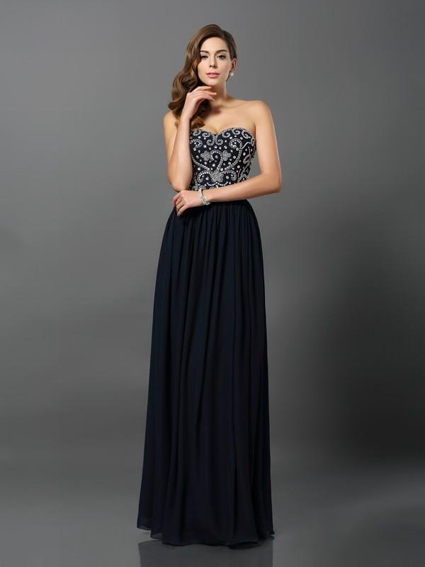 A-Line/Princess Beading Sweetheart Sleeveless Floor-Length Chiffon Dresses