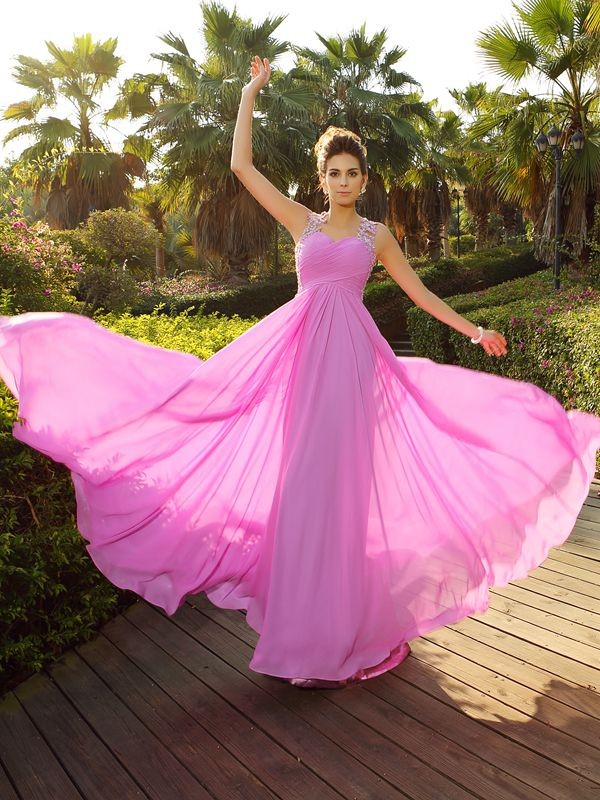 A-Line/Princess Applique Straps Sleeveless Sweep/Brush Train Chiffon Dresses