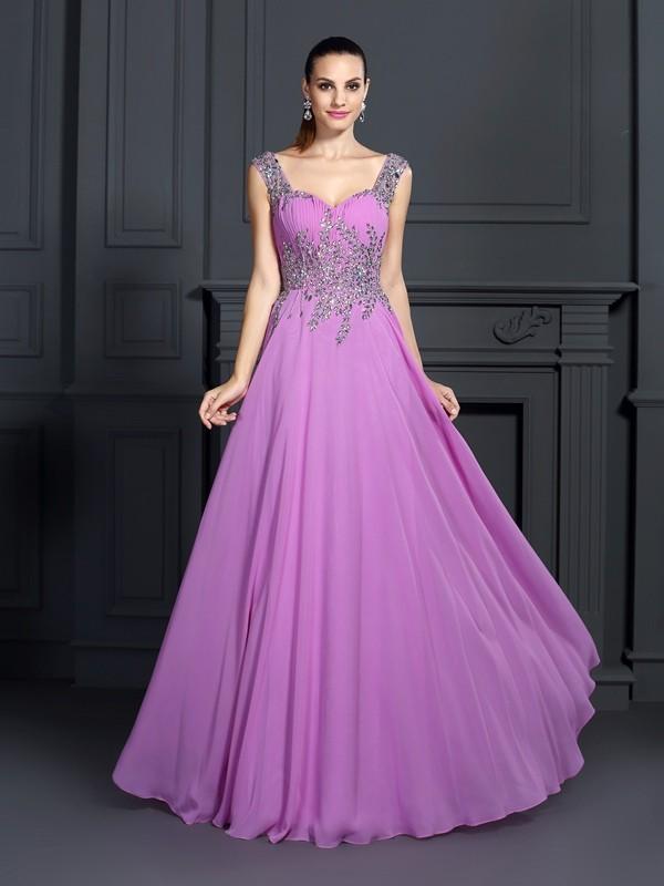 A-Line/Princess Beading Straps Sleeveless Floor-Length Chiffon Dresses