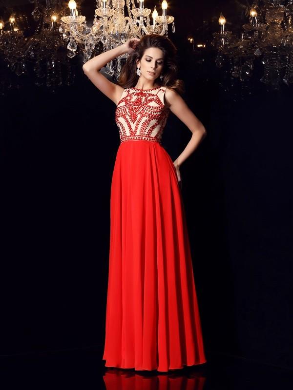 A-Line/Princess Beading Scoop Sleeveless Floor-Length Chiffon Dresses