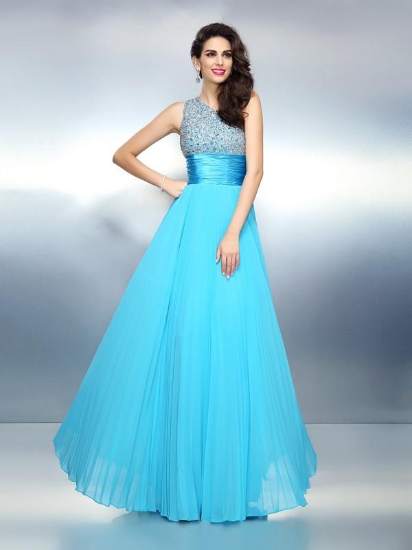 A-Line/Princess Beading One-Shoulder Sleeveless Floor-Length Chiffon Dresses
