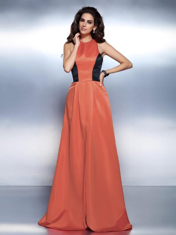 A-Line/Princess High Neck Sleeveless Floor-Length Satin Dresses