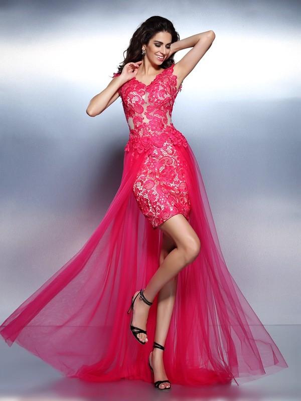 A-Line/Princess Lace V-neck Sleeveless Floor-Length Lace Dresses