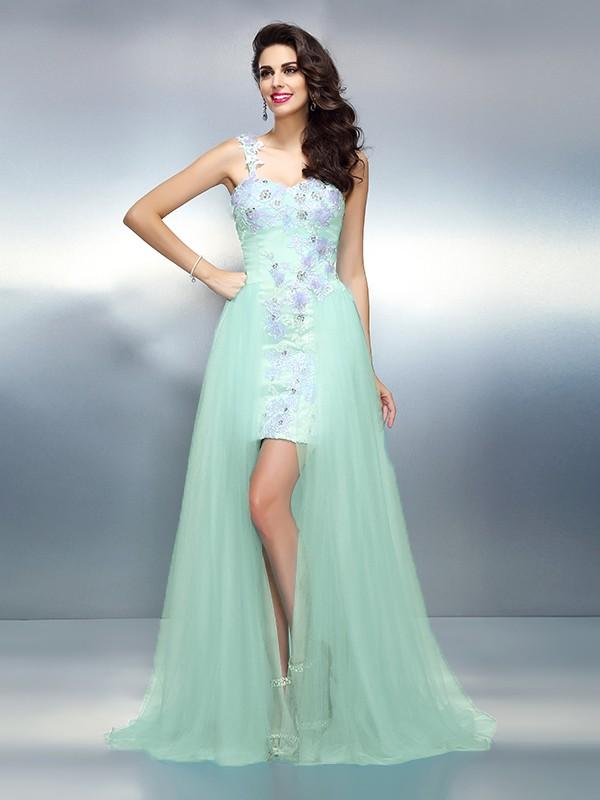 Sheath/Column Applique One-Shoulder Sleeveless Sweep/Brush Train Elastic Woven Satin Dresses