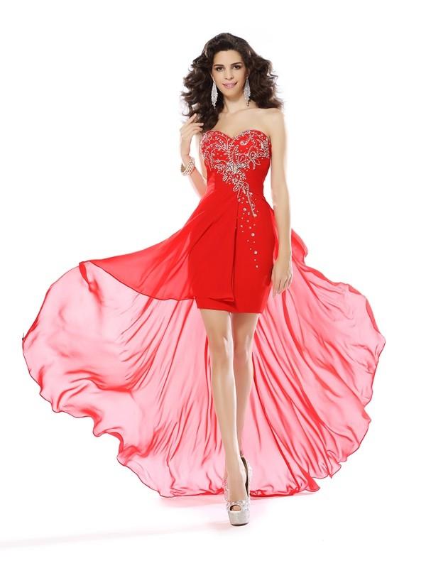 Sheath/Column Beading Sweetheart Sleeveless Short/Mini Chiffon Dresses