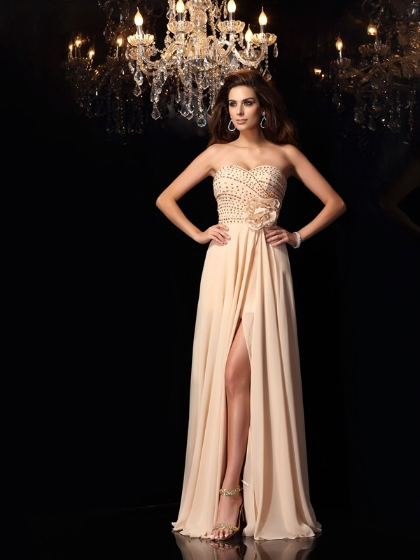 A-Line/Princess Hand-Made Flower Sweetheart Sleeveless Floor-Length Chiffon Dresses