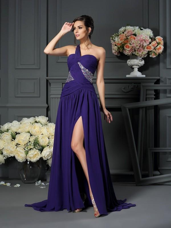 A-Line/Princess Beading One-Shoulder Sleeveless Sweep/Brush Train Chiffon Dresses