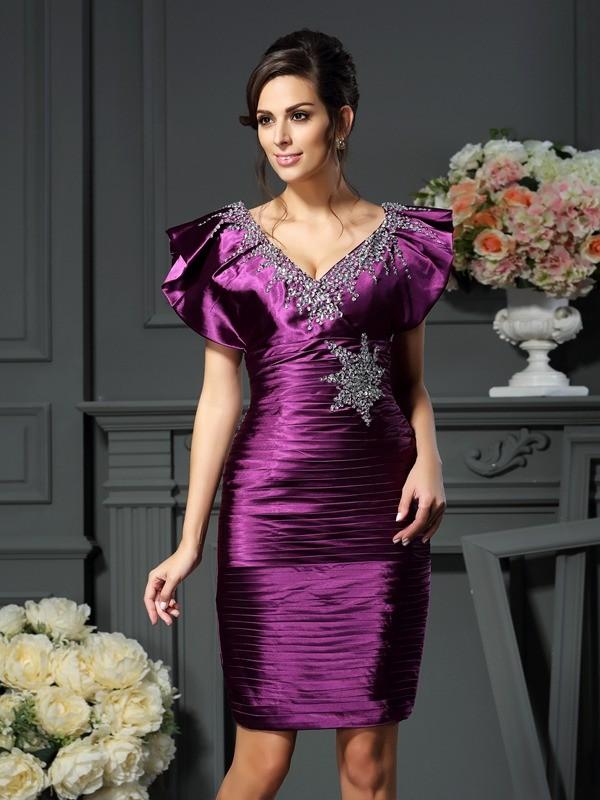 Sheath/Column Beading V-neck Sleeveless Short/Mini Elastic Woven Satin Mother of the Bride Dresses