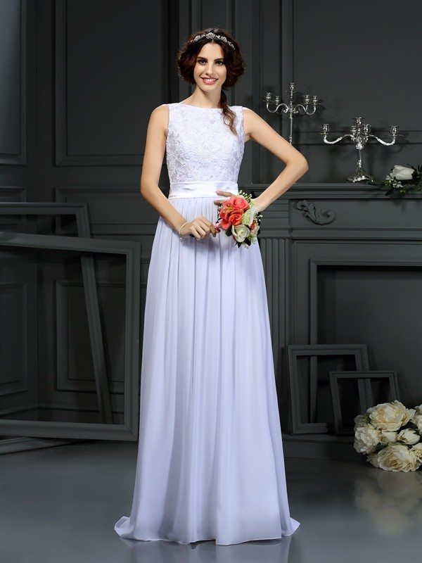 A-Line/Princess Lace Scoop Sleeveless Floor-Length Chiffon Wedding Dresses