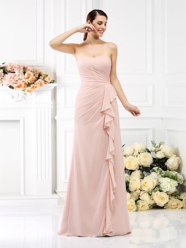 A-Line/Princess Pleats Strapless Sleeveless Floor-Length Chiffon Bridesmaid Dresses