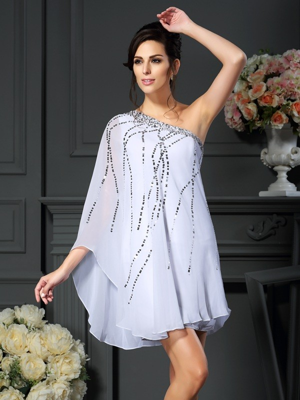 A-Line/Princess Sequin One-Shoulder Sleeveless Short/Mini Chiffon Mother of the Bride Dresses
