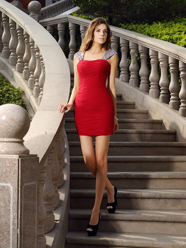 Sheath/Column Beading Straps Sleeveless Short/Mini Chiffon Dresses