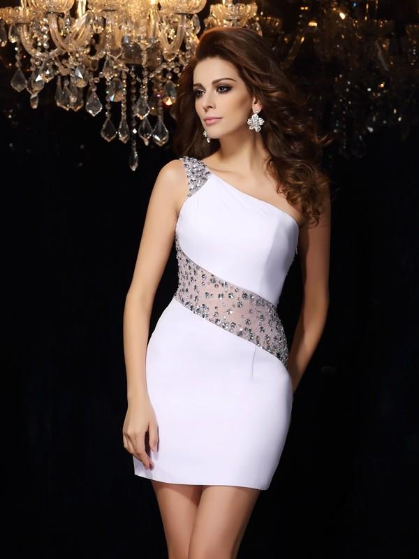Sheath/Column Beading One-Shoulder Sleeveless Short/Mini Chiffon Dresses