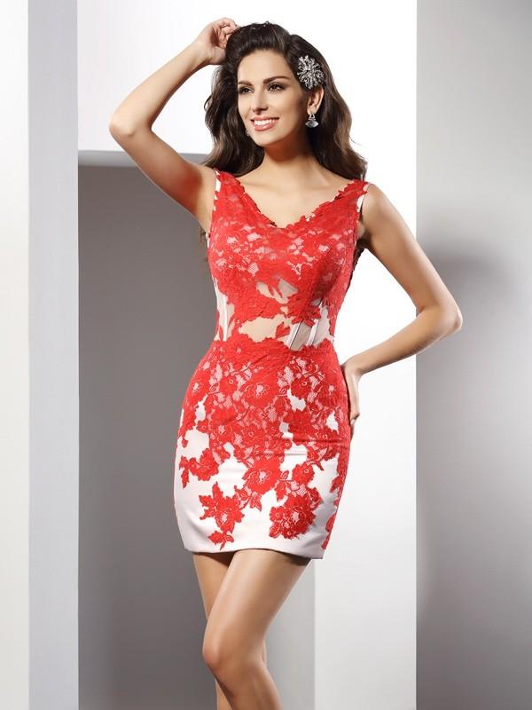 Sheath/Column Applique V-neck Sleeveless Short/Mini Satin Dresses
