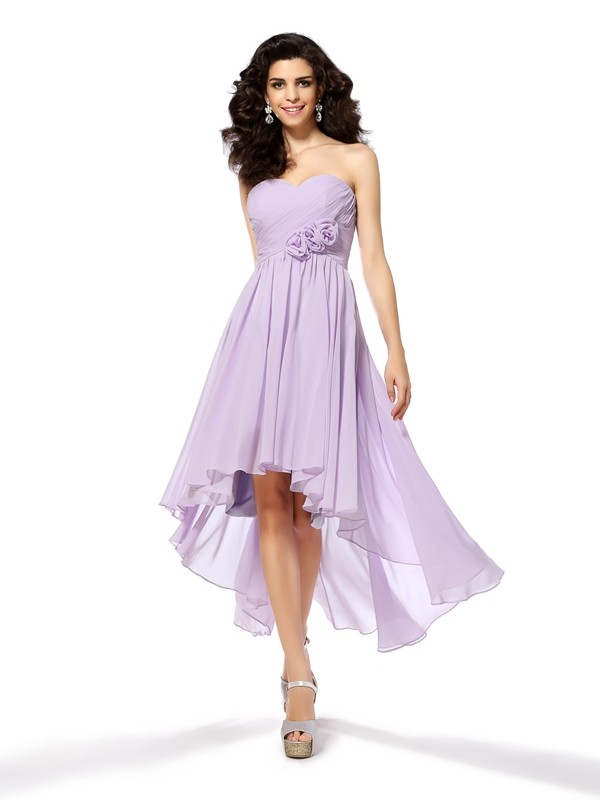 A-Line/Princess Hand-Made Flower Sweetheart Sleeveless Asymmetrical Chiffon Dresses