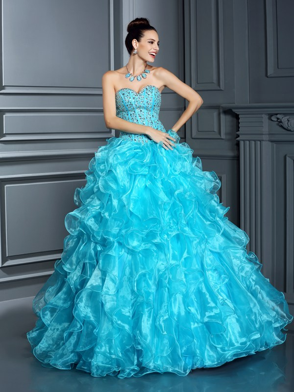 Ball Gown Beading Sweetheart Sleeveless Floor-Length Organza Dresses