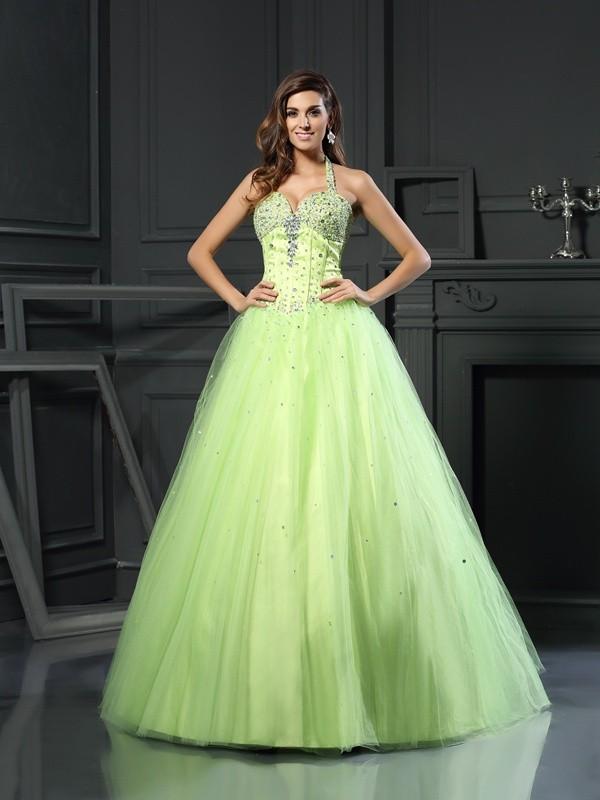 Ball Gown Beading Halter Sleeveless Floor-Length Satin Dresses