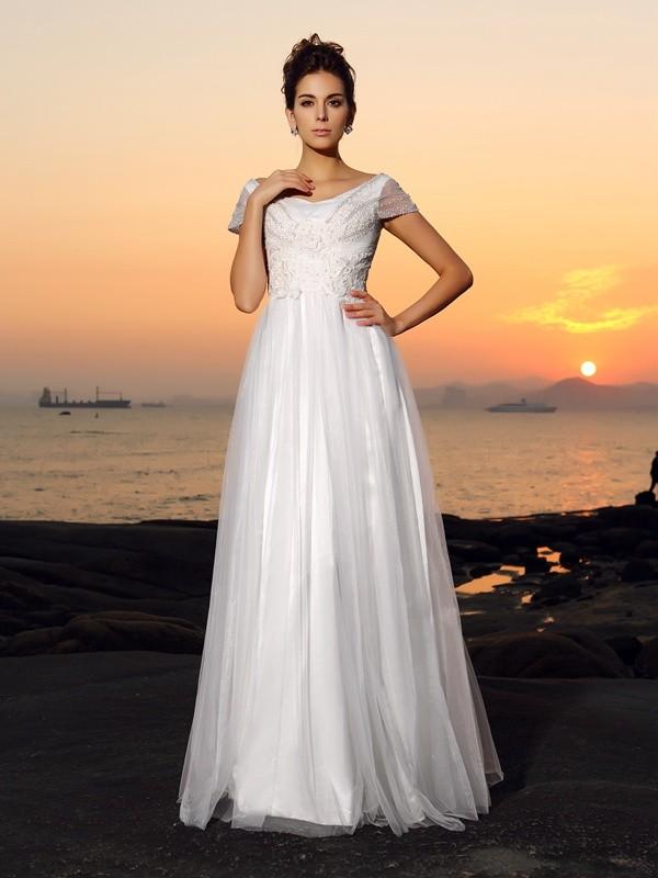 A-Line/Princess Beading Off-the-Shoulder Short Sleeves Floor-Length Tulle Wedding Dresses