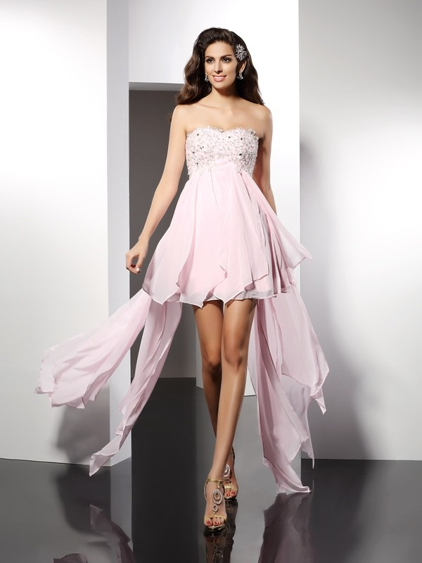 A-Line/Princess Applique Sweetheart Sleeveless Asymmetrical Chiffon Dresses