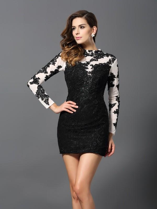 Sheath/Column Applique High Neck Long Sleeves Short/Mini Lace Dresses