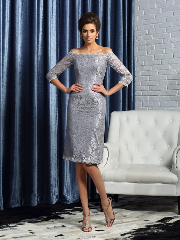 Sheath/Column Lace Off-the-Shoulder 1/2 Sleeves Knee-Length Satin Mother of the Bride Dresses