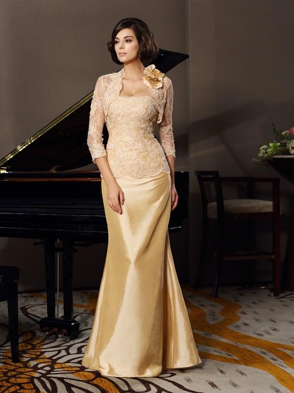 Trumpet/Mermaid Lace Sweetheart Sleeveless Floor-Length Taffeta Mother of the Bride Dresses