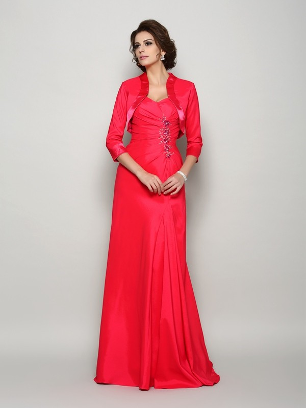 A-Line/Princess Applique Straps Sleeveless Sweep/Brush Train Elastic Woven Satin Mother of the Bride Dresses
